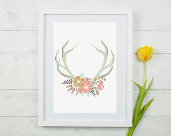 Antler w/ Decorative Florals Wall Decor Print
