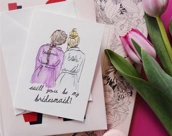 Will You Be My Bridesmaid/ Maid of Honour ? Robe Greeting Card