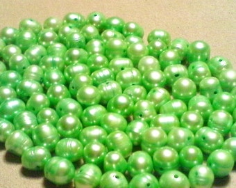 Light green freshwater pearls; light green, freshwater 'potato' pearls, 5-6x6-7-8mm, 14pcs/3.80.