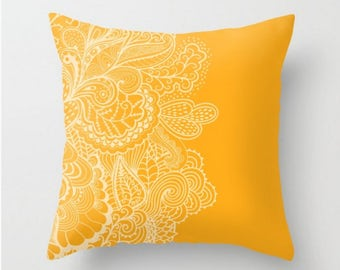 Marigold Yellow Orange  Pillow Cover Case Paisley Whimsical Design 14x14 16x16 18x18 20x20 26x26 Square