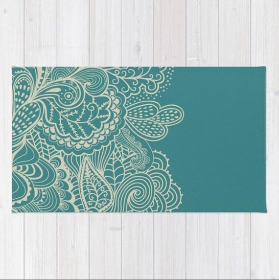 Teal Green Area Rug Mehndi Henna Paisley Shabby Chic Design