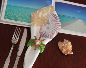 6 Napkin Rings, Serving Supplies, Tropical Table Décor, Napkin Holders, Shell Napkin Holders,  Tableware, Serving, Luau Table Décor