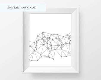 Printable Modern Abstract Line Wall Print - Modern Minimal Wall Art - Line Wall Print - Connect the Dots Print - Home Decor - Modern Decor