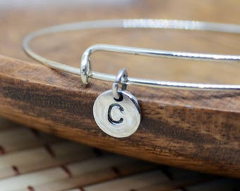 Sterling Silver bangle with small Initial disc, initial bangle, sterling silver bangle
