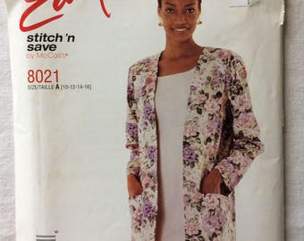 Vintage 1995 UNCUT New McCall's 8021 Misses Size 10, 12, 14, and 16 Jacket and Dress Pattern