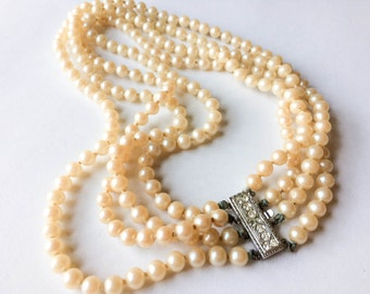Pearl necklace with silver tone and rhinestone  closure | Pearl jewelry |