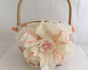 Peach and Ivory Flower Girl Basket, Shabby Chic Flower Girl Basket,