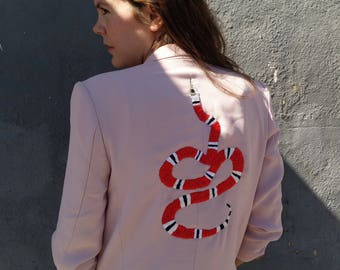 Repurposed Pink Fitted Blazer with Hand Embroidered Red Snake