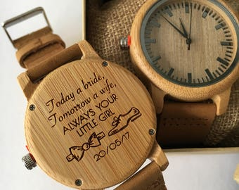 Wooden personalised engraved watch - father of the bride,wedding gift, gift for him always your little girl