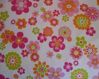 Pink flowers limegreen orange cotton fabric by the yard clearance sale