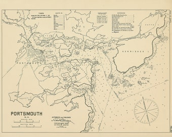 Portsmouth Harbor  - Nautical Chart by George W. Eldridge 1909