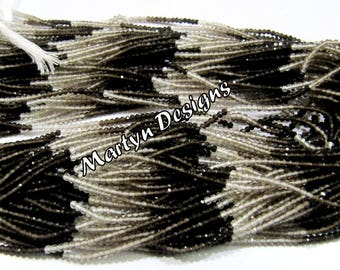 """Top Quality Natural Smoky Quartz Diamond Cut Rondelle Beads / 2mm Beautiful Shaded Smoky Quartz Gemstone Beads / Length 13"""" / Micro Faceted."""