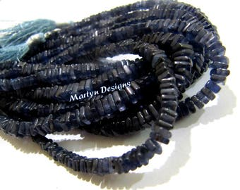 Finest Quality Natural Iolite Heishi Cut Beads /Smooth Square Beads Size 4-5mm /Sold per Strand of 8 Inches Long/ Unique Semi Precious Beads