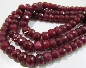Beautiful Natural Ruby Corundum Rondelle Faceted Beads , Far Size Beads 6 to 8mm , Strand 8 inch long , Ruby Gemstone Beads , Precious Beads