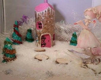 Pink Winter Handcrafted Wooden FAIRY HOUSE Magical Fantasy Woodland Fairy garden