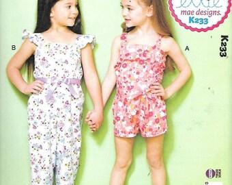 Girls Ruffled Jumpsuit, Rompers/Sash, Sizes XXS (3) - L (10) New Kwik Sew, Ellie Mae,  Pattern 233