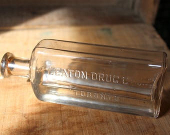 T. Eaton Drug Co. Ltd. Medicine Bottle, Antique Apothecary, Old bottle with cork, Glycerine, Toronto, Canadiana, Eaton's, Pharmacy
