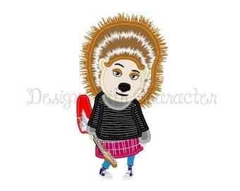 "Sing movie hedgehog applique machine embroidery design- 3 sizes 4x4"", 5x7"", 6x10"""