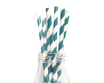 25 Navy Striped Paper Straws, White and Navy Striped Straws, Wedding Paper Straws, Party Straws, Birthday Straws, Navy Party Straws.