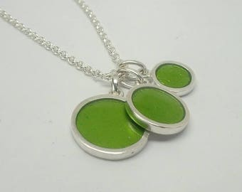 Three Dots Necklace - Silver and Resin