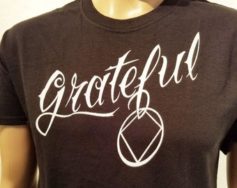 NA - GRATEFUL Black T-shirt - 2 sided design - S-5X -Black - 100% cotton. Narcotics Anonymous
