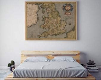 Mercator map of Great Britain of 1595| Great Britain Old Map| History of Great Britain| England Old Map Wall Art| UK Vintage Map| AMC057