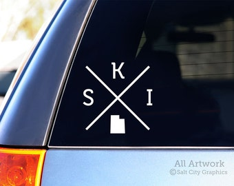 Ski Utah Decal - Vinyl Sticker, Vinyl Decal - Ski Decal, Skiing Utah Sticker, Snow Skiing Decal - Car Decal, Bumper Sticker, Laptop Sticker