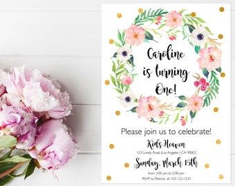 Floral Birthday Invitation, Birthday Invitations For Girls, First Birthday Invitation Girl, Baby Birthday,  Birthday Party Invitations, Gold