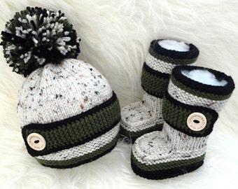 Crochet Baby Boy Set Crochet Baby Shoes Baby Hat Crochet Baby Beanie Baby Boy Winter Set Knitted Baby Set Baby Booties Baby Shoes