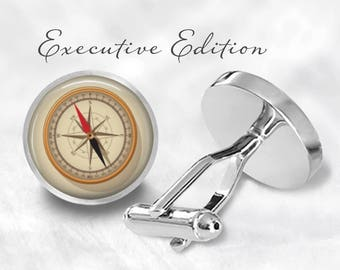 Retro Nautical Compass Cufflinks (Pair) Lifetime Guarantee (S0934)