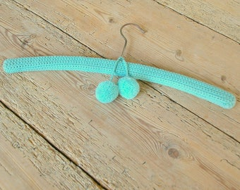 Vintage clothes hanger knitted pompom.Baby hanger blue.Turquoise. Nursery decor.Storage.Organizing. Closet.Hall decor.Coat hanger.Bedroom