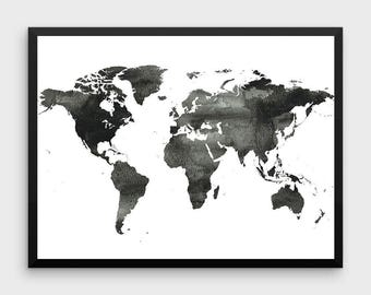World Map Poster Water Color Print