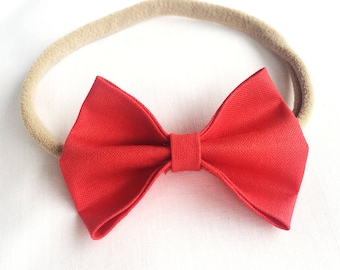 Fire Engine Red Baby Bow | Alligator Clip | Nylon Headband | Baby Toddler Child Headband