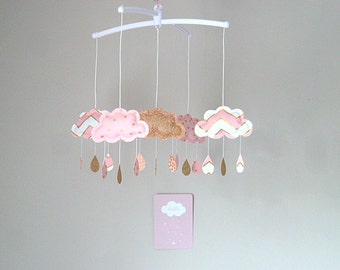 Musical mobile clouds drops rose gold