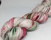 Hand dyed sock yarn in light green red and brown, hand dyedsock yarn, Christmas sock yarn, fingering yarn
