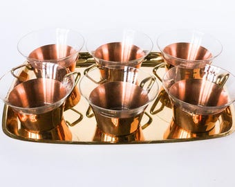 Vintage copper service set of 6 cups with tray - Geometric design brass - Tea cups with glass inserts