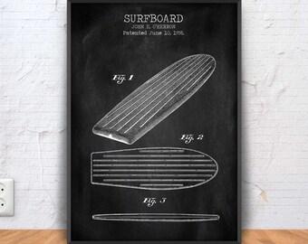 SURFBOARD patent print, surfboard poster, surfboard blueprint, surfboard illustration, surfboarding, hawaii poster, #1286