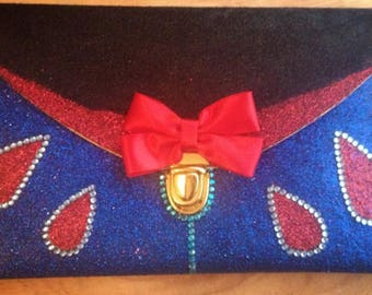Snow Princess - Clutch Bag - Ebony Black - Red Bow - Tear Drop Details