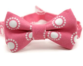Pink bow tie, wedding ring bearer, ring bearer bow tie, pink and white polka dot bow tie, polka dot pink bow tie, boys pink bow tie