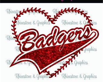 Badgers Baseball Heart with Laces Instant download SVG, Eps, Cutting File