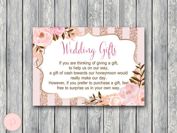 Wedding Gift Card Australia : Rose Gold Wedding Gift, Honeymoon Fund Card and Sign, Cash towards ...