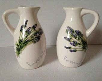 Pair, Small Vases, Jug Vases, Ceramic  Vases, Lavender, Flower Vases, Vases, Floral Vases, Lavender House Vintage-Miniature Vases/Home Decor
