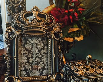 5 x 7 Decorative Embellished GOLD frame with crown and Bling - FREE SHIPPING