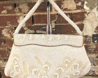 Vintage Bags by Joseph Cream Colored Beaded Purse Evening Bag