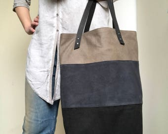 Soft thin leather tricolor tote bag, shoulder bag