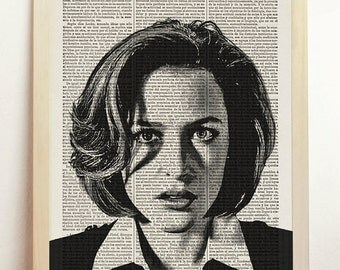 Dana Scully The X Files I Want to Believe Print Aliens Poster UFO Flying Saucer Mulder Art Upcycled Decor Book Dictionary