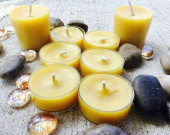 100% Pure Beeswax Tea lights-beeswax votives-gift pack-organic beeswax tealights-natural beeswax votive candles-handmade long burning