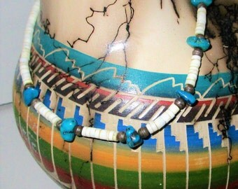 Vintage Handmade Native American Heishi Choker Chunky Turquoise Nugget Oyster Shell & Sterling Silver Necklace