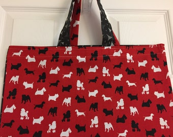 Adorable Scotty print with black back - Reusable Grocery / Shopping Bag