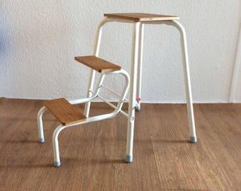 Vintage stool step stool white metal wood 70's flower Bank kitchen stool flower head